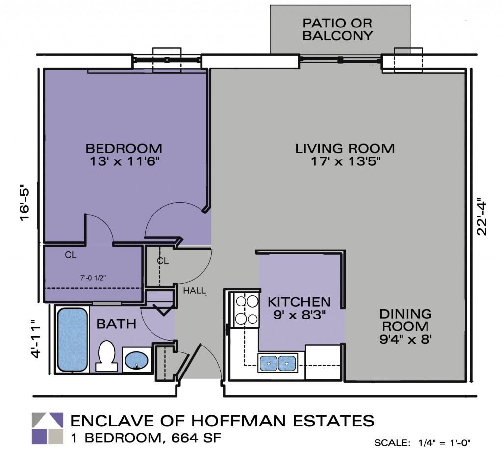 One bedroom apartment enclave apartments - One bedroom flat plans ...