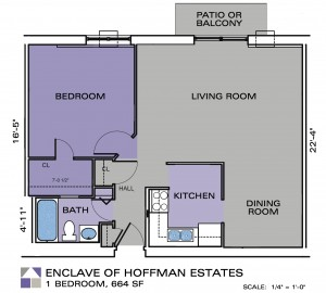 Enclave Apartments One Bedroom Floor Plan